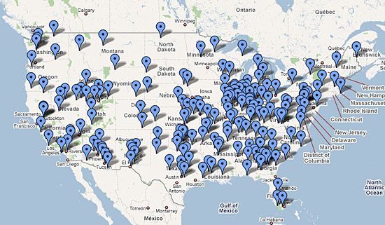 locations of concentration camps. See Google Map of Camps