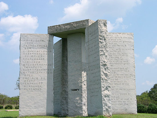 http://kickthemallout.com/images/Photos/GeorgiaGuideStones/Georgia_Guidestones.jpg